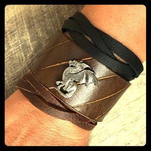 Handmade dragon top grain leather cuff